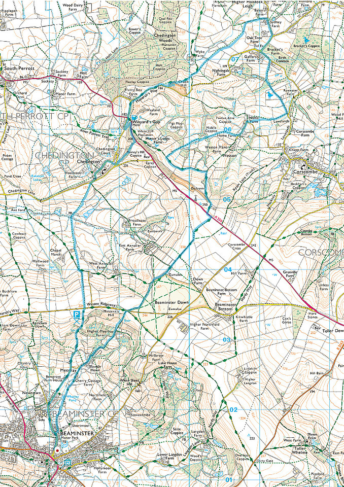 We walked the route here shown in blue and went in a clockwise direction
