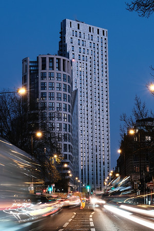 City road and modern architecture, by dusk, London, United Kingdom
