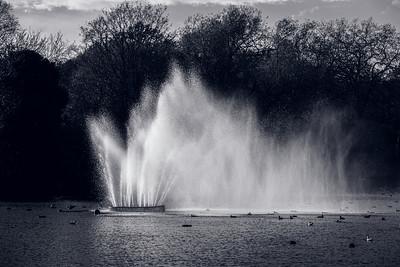 Fountain in the lake, Victoria Park, Hackney, E9, London, United Kingdom