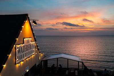 Restaurant and bar THE WATERFRONT overlooking Totland Bay in English Channel, Isle of Wight, United Kingdom