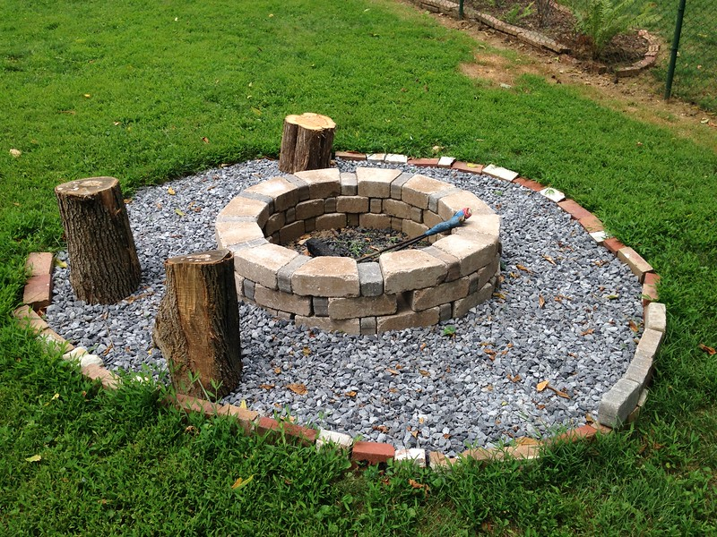 ...in this firepit, which I made. A lot of hauling rocks, but it was good exercise and it'll be sooo nice in fall and winter.
