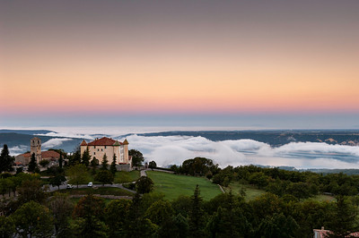 Europe, France, Provence, Aiguines, view of village and Lac de Ste-Croix on foggy morning