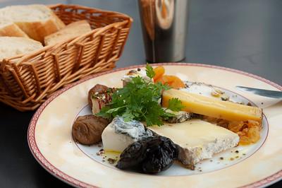 "Europe, France, Provence, Tourtour, hotel/restaurant ""La Bastide De Tourtour"" ; selection of cheeses is served,"