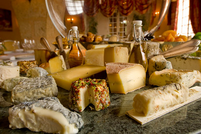 "Europe, France, Provence, Tourtour, hotel/restaurant ""La Bastide De Tourtour"" ; selection of cheeses served, cheese-board"