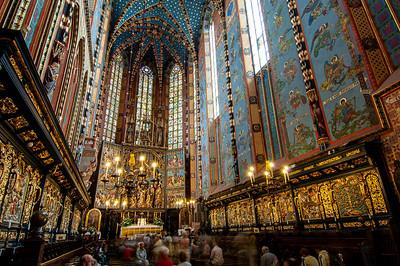 Poland, Cracow, interior of Mariacki Church with altarpiece by Wit Stwosz