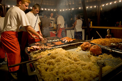 Poland, Cracow, grill and other Polish cuisine, traditional and country cooking served on Rynek Glowny