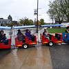 Families brave the rain and ride the train during the 11th annual celebration of the Martin T. Feldman Children's Room inside the Leominster Public Library on Sunday.  SENTINEL & ENTERPRISE JEFF PORTER
