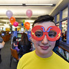 Nathan LeBlanc, 11, of Fitchburg shows off a pair of glasses he made during the 11th annual celebration of the Martin T. Feldman Children's Room inside the Leominster Public Library on Sunday.  SENTINEL & ENTERPRISE JEFF PORTER