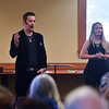 Magician David Hall (left) and Mentalist Antonia perform in front of an audience during the 11th annual celebration of the Martin T. Feldman Children's Room inside the Leominster Public Library on Sunday.  SENTINEL & ENTERPRISE JEFF PORTER