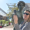 Boldcafe, Phoenix, Az. |  Elizabeth McBride, editor, takes a selfie with an unsuspecting statue in downtown Phoenix.