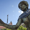 Boldcafe, Phoenix, Az. |  Elizabeth McBride, editor, hangs a boldcafe t-shirt on an unsuspecting statue in downtown Phoenix.