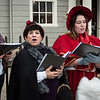 From left, Laura Sans Cartier of Dracut, Cyndi Celler of Salem, Les Peterson of Somerville, and Heather Tobin of Rowley spread holiday cheer as they sing on the streets of Marblehead on Saturday.
