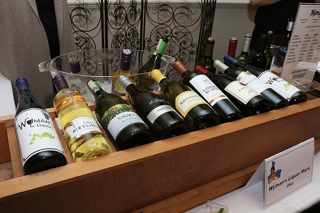 . The HealthAlliance-Clinton Hospital Cat\'s Meow Speakeasy Tasting Gala was held on March 1, 2018 at the DoubleTree by Hilton in Leominster. Some of the wines at Wyman\'s Liquors table at the envent.  SENTINEL & ENTERPRISE/JOHN LOVE