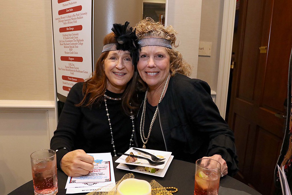 . The HealthAlliance-Clinton Hospital Cat\'s Meow Speakeasy Tasting Gala was held on March 1, 2018 at the DoubleTree by Hilton in Leominster.  Having some fun at the Speakeasy all dressed for the event were Paula Bouchard and Mary Cortese. SENTINEL & ENTERPRISE/JOHN LOVE