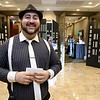 The Healthalloance-Clinton Hospital Cat's Meow Speakeasy Tasting Gala was held on March 1, 2018 at the DoubleTree by Hilton in Leominster.  Manning the door into the event was North Central Massachusetts Chamber of Commerce's Member Services Associate David Ginisi all dressed up for the event. SENTINEL & ENTERPRISE/JOHN LOVE