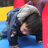 """Micah insisted on wearing his """"doggie socks,"""" so he kept slipping on the bounce house floor :)"""