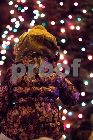 Sam Buckner for Shaw Media.<br /> Mackenzie Tallitsch 7, looks up at the trees on the courthouse lawn as they are lit on Friday December 1, 2017.