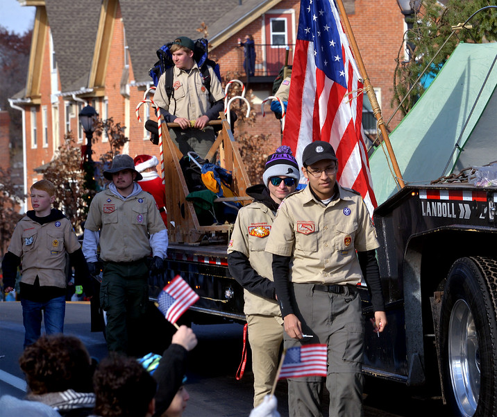 Boy Scout Troop 178, Kulpsville, brought a float with tents and dog sled to the Souderton Holiday Parade Dec. 2, 2017. (Bob Raines--Digital First Media)