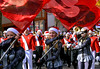 The Souderton Marching Band Color Guard precedes the musicians as the climb N. Main St. during the Souderton Holiday Parade Dec. 2, 2017. (Bob Raines--Digital First Media)