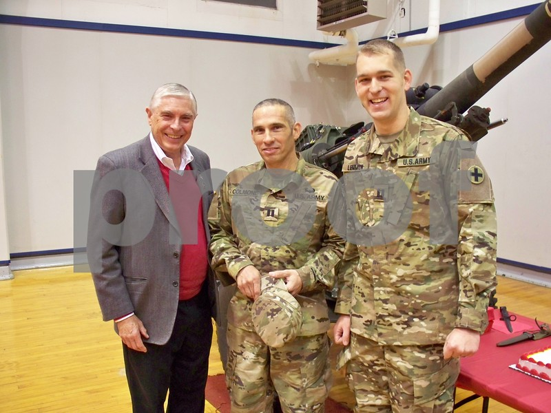 Rep. Robert Pritchard (from left) greets Capt. Ryan Colmone and Capt. Robert Lemmon in the receiving line.