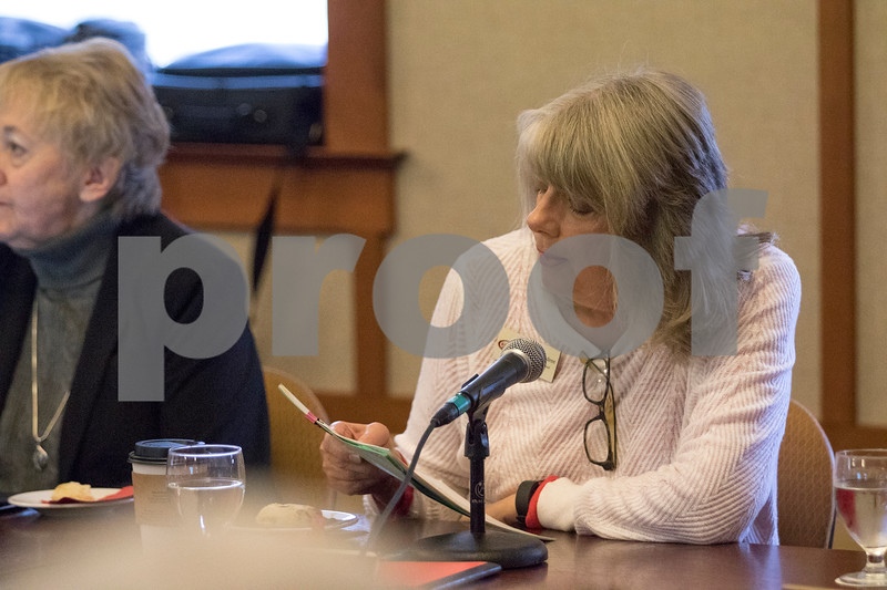 Sam Buckner for Shaw Media.<br /> Barbara Andree reads a statement at the beginning of the NIU Board of Trustees meeting on Thursday December 7, 2017.