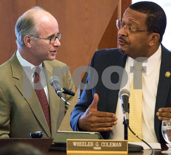 Photo Illustration by Sam Buckner for Shaw Media<br /> Charles Philbrick (left) speaks on behalf of Misty Haji-Sheikh and NIU Board of Trustees member Wheeler Coleman (right) responds on Thursday December 7, 2017 who won a lawsuit to block former NIU President Doug Baker's payout.