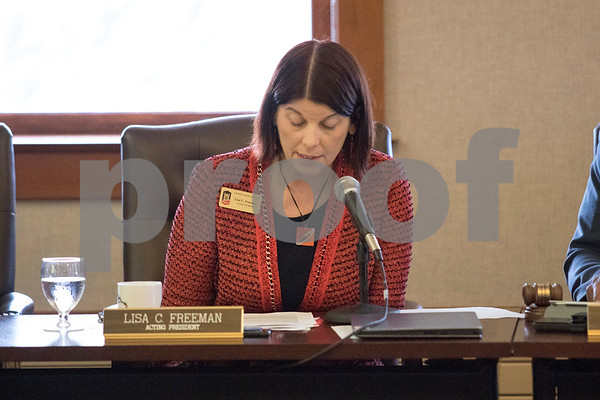 Sam Buckner for Shaw Media.<br /> NIU Acting President Lisa Freeman speaks during a Board of Trustees meeting on Thursday, Dec. 7, 2017 at Altgelt Hall in DeKalb.