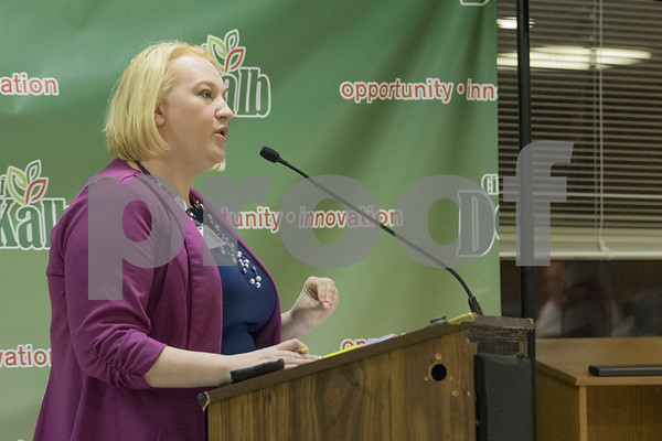 Sam Buckner for Shaw Media.<br /> Financial Director Molly Talkington reads a report on the proposed fuel tax ordinance on Monday December 11, 2017.