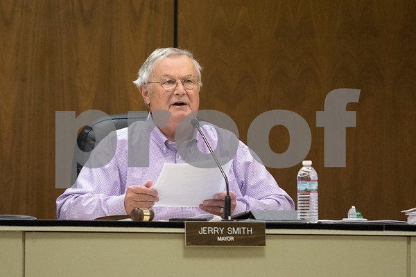 Sam Buckner for Shaw Media.<br /> Mayor Jerry Smith calls upon members of the public to voice their opinions about the proposed budget on Monday December 11, 2017.