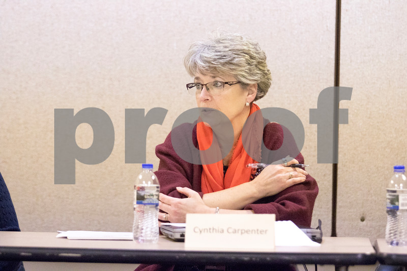 Sam Buckner for Shaw Media.<br /> Cynthia Carpenter, Director of Business and Finance, gives input on the proposed tax plans on Wednesday December 13, 2017.