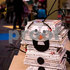 "Sam Buckner for Shaw Media.<br /> A book sculpture made to look like Olaf from Disneys ""Frozen"" sits on a desk at the Sycamore Public Library on Wednesday December 14, 2016."