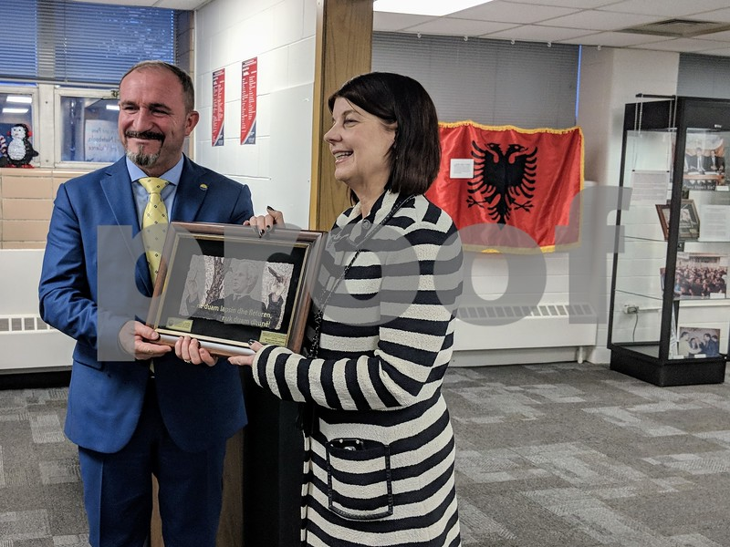 "Ameti presented Freeman with a photo of University of Tetova founder Fadil Sulejmani at the opening of the exhibit. ""The University of Tetova and the Struggle for Education Equity in the Republic of Macedonia"" will run through May 11 at the Blackwell History of Education Museum located in Gabel Hall."