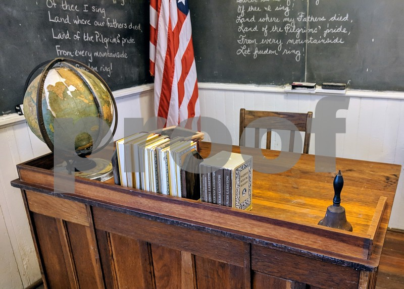 The school contains chalkboards and furniture that were original to the school house or are period accurate. The teacher would work with all grades in the one room at once, calling up small groups of each grade to work with students individually while the other grades worked independently.
