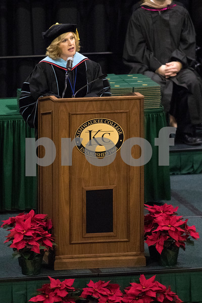 Sam Buckner for Shaw Media.<br /> Kishwaukee College President Laurie Borowicz welcomes everyone in attendance to the graduation ceremony on Saturday December 16, 2017.