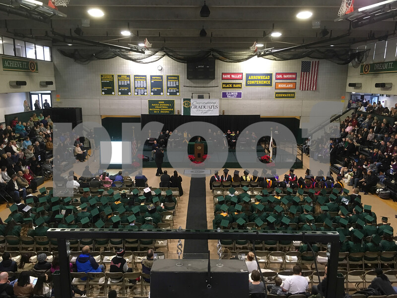 Kishwaukee College graduate Adriana Cardenas delivers the student commencement address during the fall commencement ceremony Saturday in the college's gymnasium.