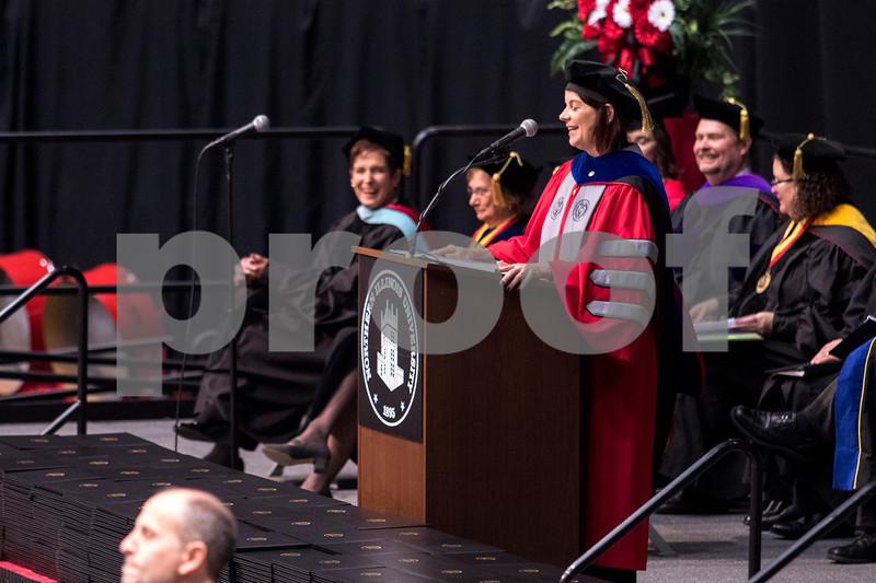 Sam Buckner for Shaw Media.<br /> Acting President of NIU Lisa Freeman recongnizes several graduating students stories at NIU during her speech on Sunday December 17, 2017.