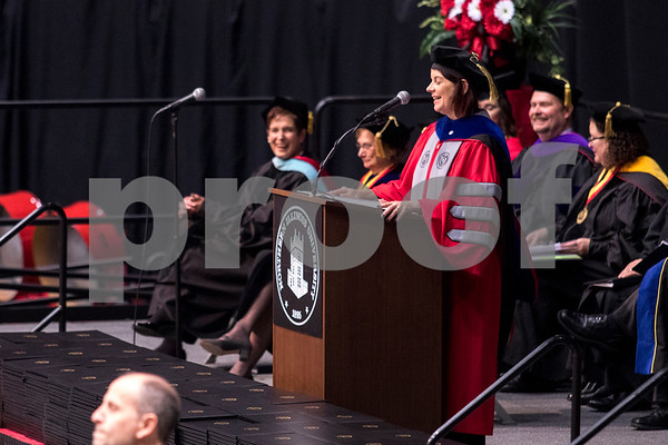 Sam Buckner for Shaw Media.<br /> Acting President of NIU Lisa Freeman recongnizes several graduating students stories at NIU during her speech on Sunday December 17, 2017.