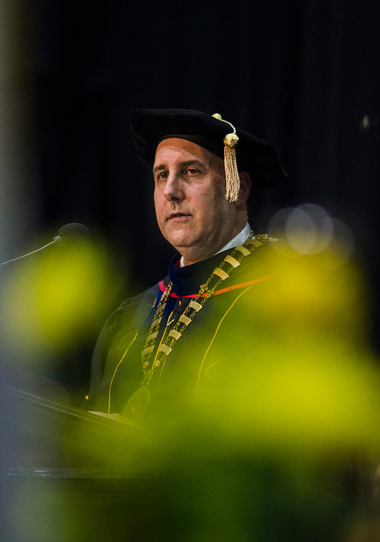 . President Richard Lapidus speaks during the 121st Annual Graduate Commencement at Fitchburg State University on Thursday, May 18, 2017. SENTINEL & ENTERPRISE / Ashley Green