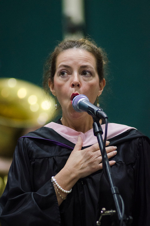 . Elizabeth Fiedler performs the National Anthem during the 121st Annual Graduate Commencement at Fitchburg State University on Thursday, May 18, 2017. SENTINEL & ENTERPRISE / Ashley Green
