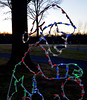 Bob Raines--Digital First Media(Bob Raines-/Digital First Media) An elf silhouette made of lights gets ready for Christmas at Fischer's Park Dec. 20, 2017.