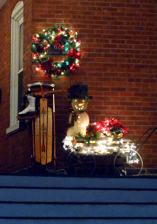 . (Bob Raines-/Digital First Media)  Porch decorations on Columbia Ave., Lansdale Dec. 21, 2017.