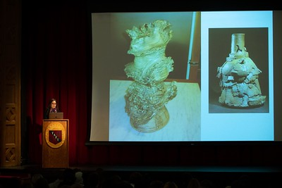 Rockwell Visiting Artist Alyse Rosner speaks during Morning Meeting