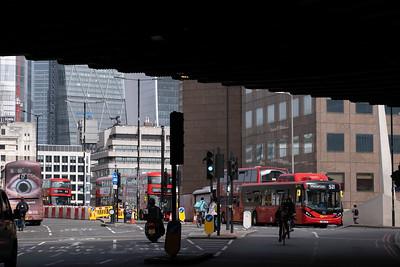 Traffic by London Bridge, SE1, London, United Kingdom