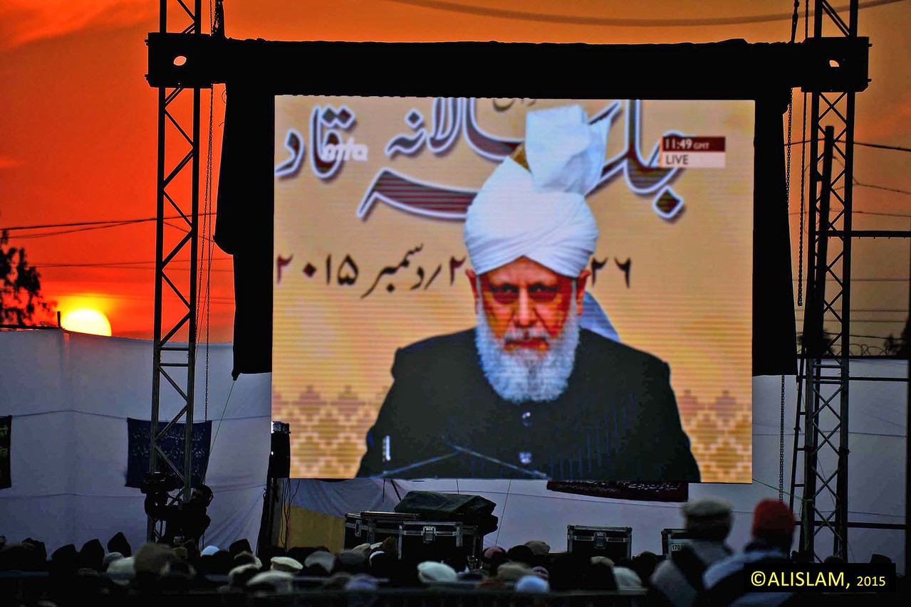 "Hazrat Mirza Masroor Ahmad continued:  ""Truly fortunate are those people who are sitting in Qadian, the home of the Promised Messiah (peace be upon him), partaking in the unique spiritual atmosphere of the Annual Convention and listening to the words of this humble servant, the Khalifa of the Promised Messiah."