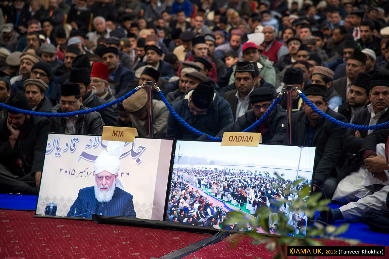 His Holiness addressed the final session via satellite link from the Baitul Futuh Mosque in London. Over 19,000 people, from 44 countries, attended the Jalsa in Qadian.