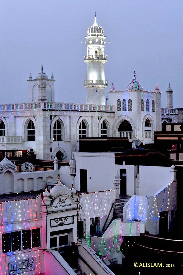 A view of Masjid Mubarak, Masjid Aqsa and Minaratul Masih, Qadian