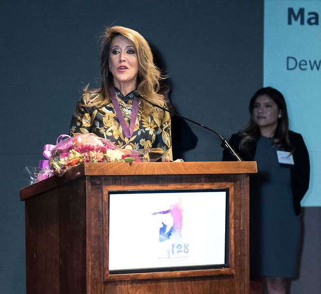 Honoree, Maria Cardona, Principal of the Dewey Square Group, and alumna Melissa Flores.