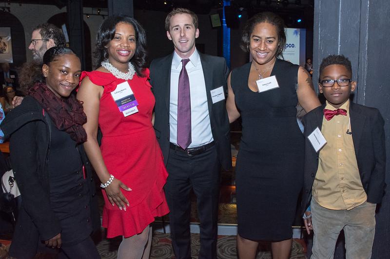 LaTara Harris, Crittenton Leadership Award Honoree, Crittenton Sponsor, Regional Director of External and Legislative Affairs, AT&T, with her children, as well as Brendan Haggerty and Anisa Latif, both of AT&T.