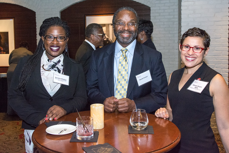 Breanna Bledsoe, Legislative Counsel, Office of Councilmember Robert White, with Derek Farmer and Adriana Burgos-Ojeda, Assistant Principal, Montgomery Blair High School.