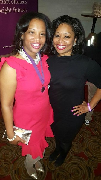LaTara Harris, Crittenton Leadership Award Honoree, Crittenton Sponsor, Regional Director of External and Legislative Affairs, AT&T, with Stacy Burnette, Crittenton Sponsor, Comcast.